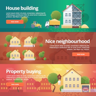 Construction and building banners set.  illustrations on the theme of property buying, neighbourhood, house building, real estate.