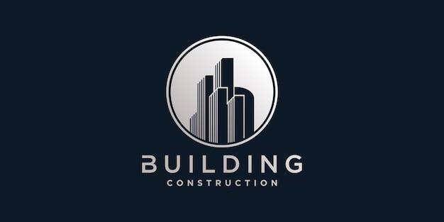 현대 원 부정적인 공간 개념 프리미엄 벡터와 건설 건물 로고