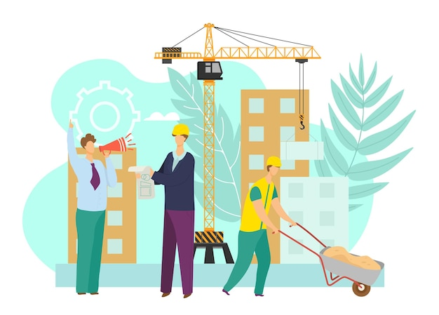 Construction building vector illustration man people character work at industrial site flat crane eq...