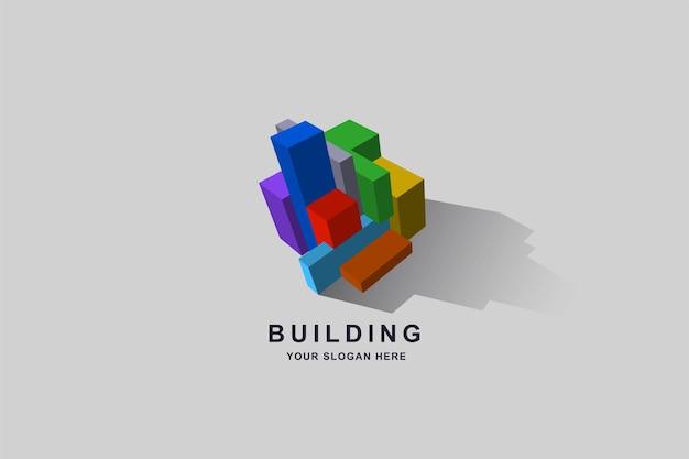 건설 건물 또는 3d 상자 사각형 로고 디자인 서식 파일