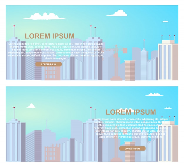 Construction business flat vector web banners set
