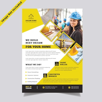 Construction business flyer template