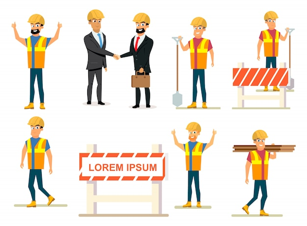 Construction business people vector collection