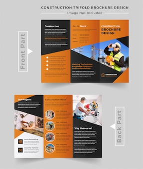 Construction business trifold brochure template