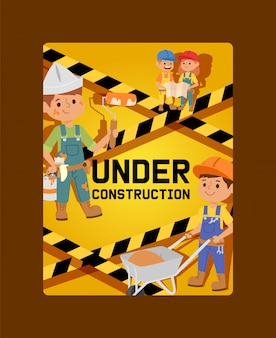 Under construction card children builder character building design illustration