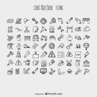 Construction cartoon icons collection