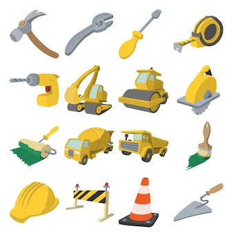 Construction cartoon icons set isolated