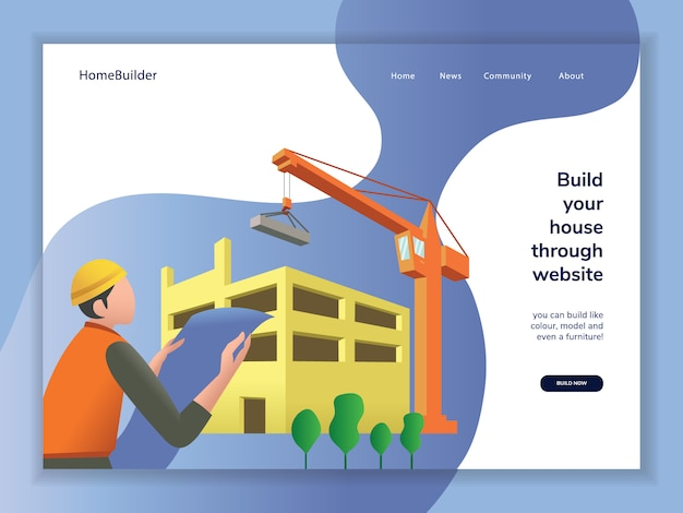 Construction cartoon landing page