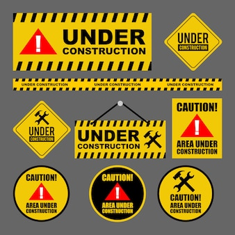 Under construction caution design set