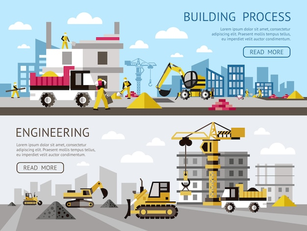 Construction colored banner set with building process and engineering descriptions plus buttons vector illustration