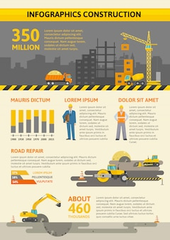 Construction colored infographic