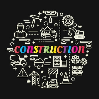 Construction colorful gradient with line icons set
