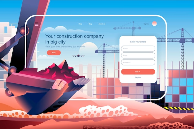 Construction company in big city landing page template vector illustration