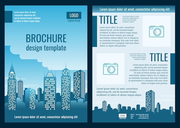 Construction company business brochure vector template