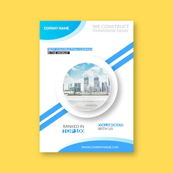 建設会社の表紙デザイン Premiumベクター