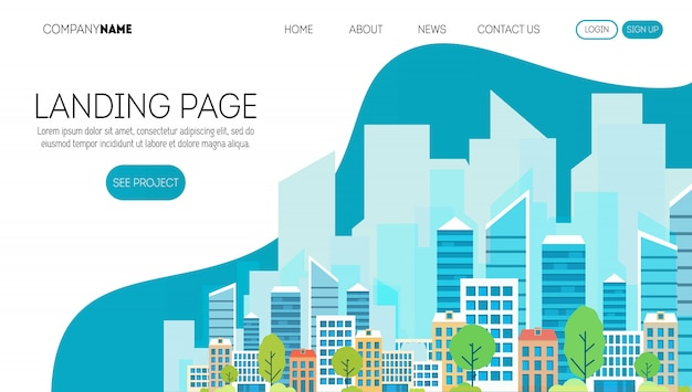 Construction company web page template. landing page for a website about real estate business