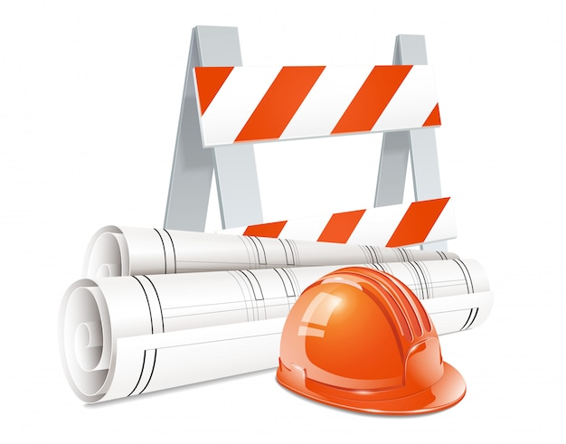 Construction concept set of road barrier orange helmet and roll of engineering drawings realistic elements