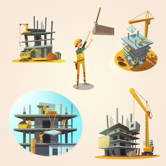 Construction concept set with building process retro cartoon icons