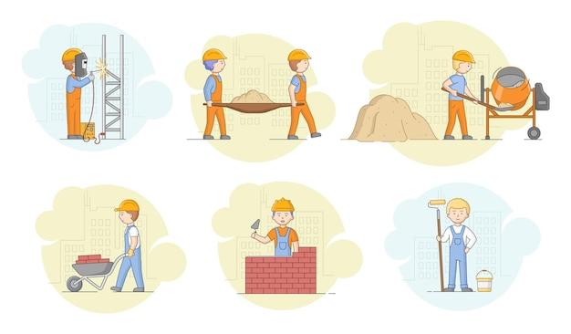 건설 개념. 보호용 유니폼과 헬멧에서 일하는 노동자들, 금속 공장 용접, 콘크리트 준비, 주거 지구 건설. 만화 선형 개요 플랫 스타일. 벡터 일러스트 레이 션.