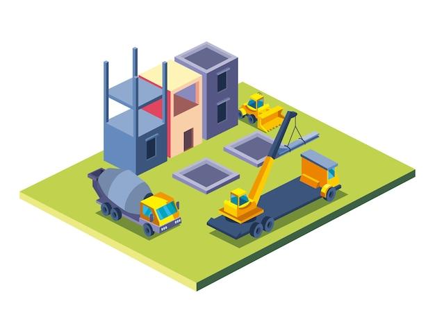 리모델링 작업 및 수리 테마의 건설 콘크리트 믹서 및 공장 아이소 메트릭 스타일 아이콘 디자인