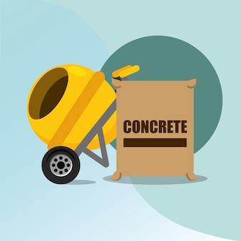 Construction concrete mixer and bag tools equipment vector illustration