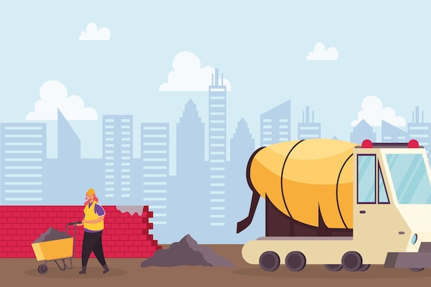 Construction concrete mixer vehicle and builder with wheelbarrow vector illustration design
