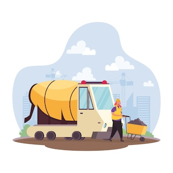 Construction concrete mixer vehicle and builder in workplace scene vector illustration design