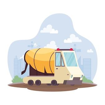 Construction concrete mixer vehicle in workplace scene vector illustration design