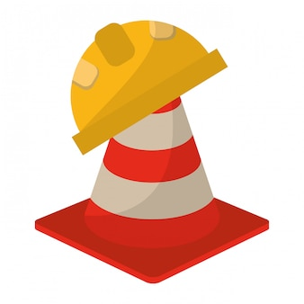 Construction cone and helmet