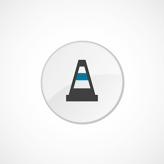 Construction cone icon 2 colored, gray and blue, circle badge