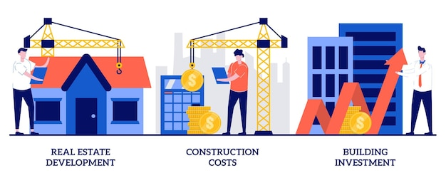 Затраты на строительство, концепция инвестиций в строительство с иллюстрацией крошечных людей