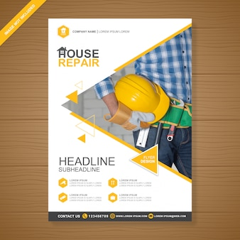 Construction cover a4 flyer design template