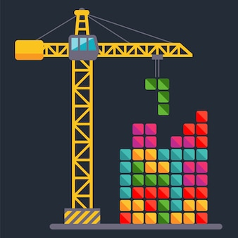 Construction crane builds a constructor