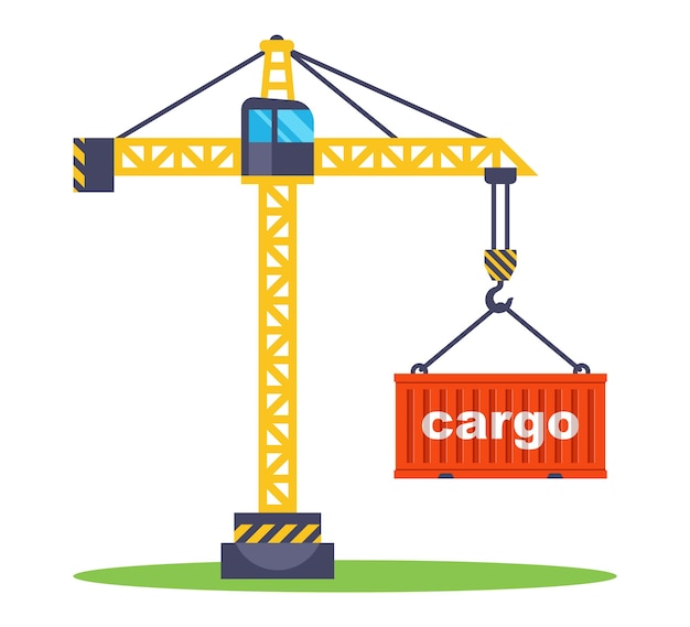 Construction crane lifts a red container with goods