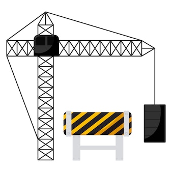 Construction crane tower with signaling