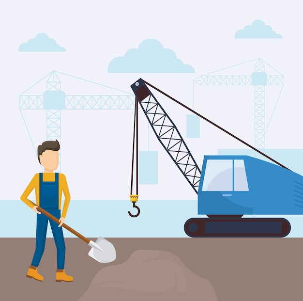 Under construction crane truck icon