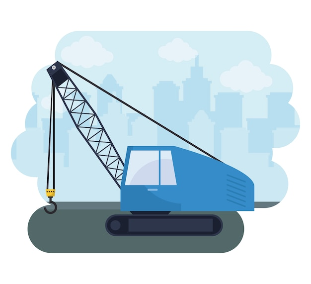 Under construction crane truck with cityscape
