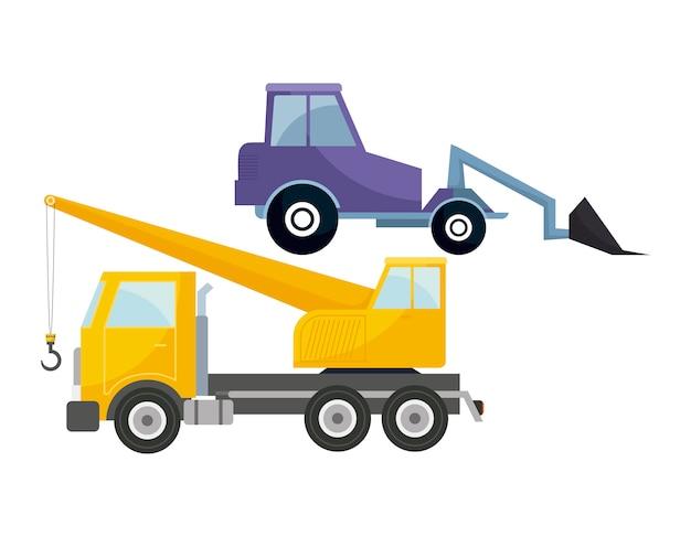 Under construction crane truck with forklift
