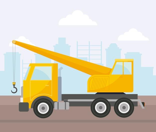 Under construction crane truck