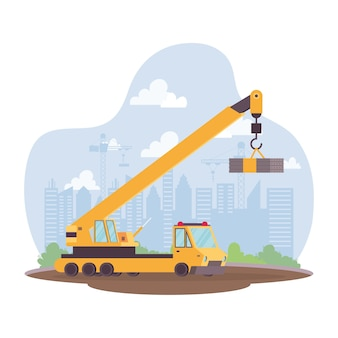 Construction crane vehicle in workplace scene vector illustration design