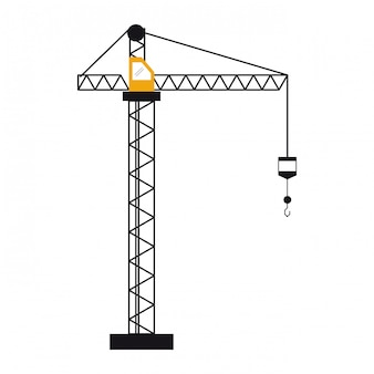 Construction crane with hook tower