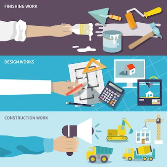 Construction design flat banner set