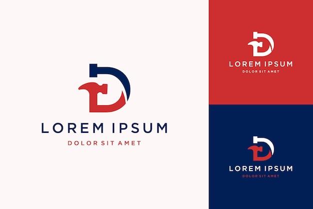 망치와 못이 있는 건설 디자인 로고 또는 모노그램 또는 이니셜 d 문자