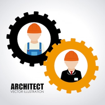 Construction design orange illustration