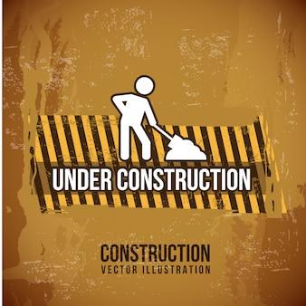 Under construction design over vintage background vectorillustration