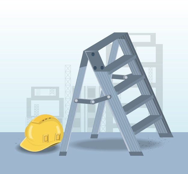 Construction design with ladder and safety helmet