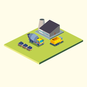 Construction dump truck concrete mixer and factory isometric style icon design of remodeling working and repairing theme