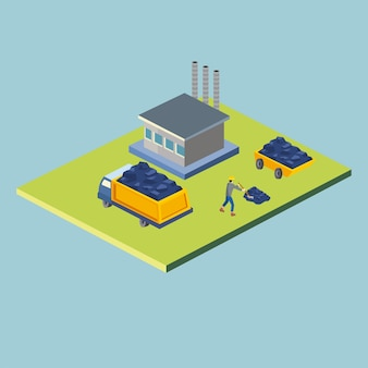 Construction dump truck man and factory isometric style icon design of remodeling working and repairing theme