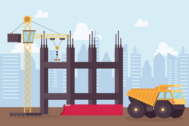 Construction dump vehicle and crane in workplace scene vector illustration design