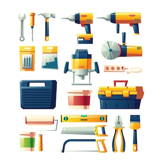 Construction electric, hand tools flat vector set